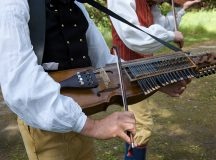 A Nickel-Harp, (nyckelharpa) being played at a Swedish Midsummer Festival in Koping, Sweden.